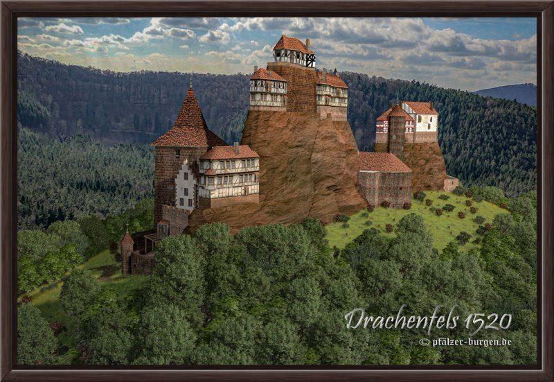 Rekonstruktion der Burg Drachenfels des Jahres 1520