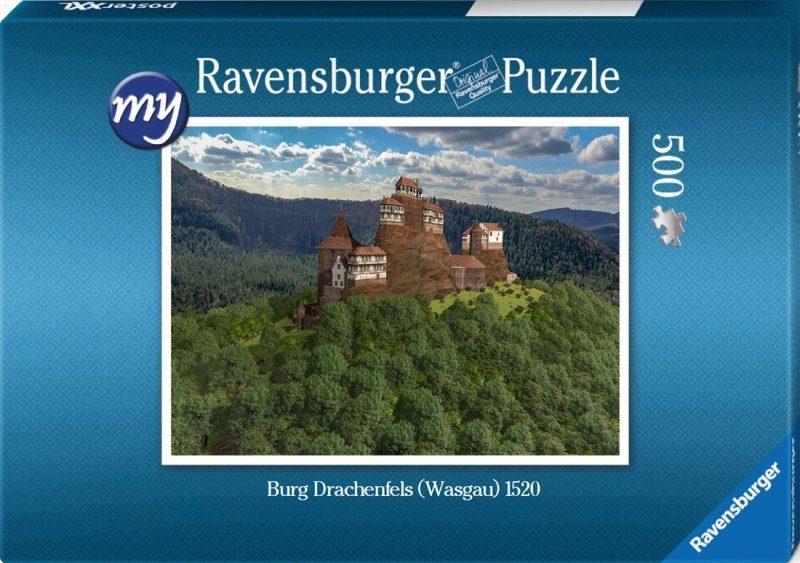 Für den Einsteiger: Puzzeln Sie die fotorealistische Rekonstruktion der Burg Drachenfels (Wasgau) des Jahres 1520. En qualitätsvolles Ravensburger-Puzzle mit 500 Teilen. Maß des fertigen Puzzles: 43