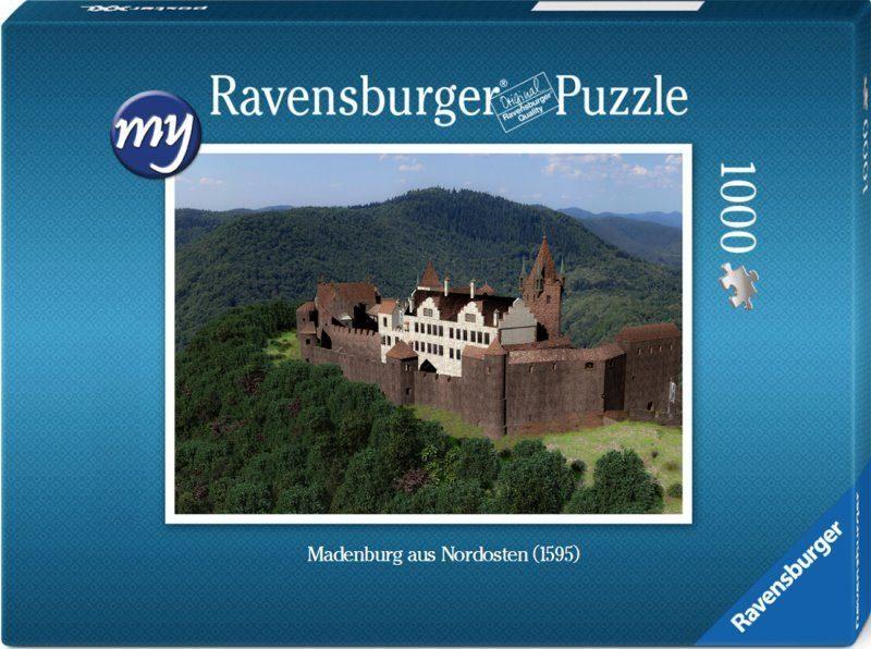 Für den fortgeschrittenen Puzzler: Puzzeln Sie die fotorealistische Rekonstruktion der Madenburg des Jahres 1595 aus der Nordostansicht. Sie erhalten ein qualitätsvolles Ravensburger-Puzzle (1000 Teile). Maße des fertigen Puzzles: 69