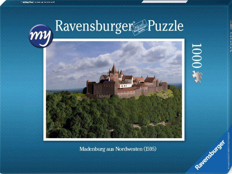 Für den fortgeschrittenen Puzzler: Puzzeln Sie die fotorealistische Rekonstruktion der Madenburg des Jahres 1595 aus Nordwesten. Sie erhalten ein qualitätsvolles Ravensburger-Puzzle (1000 Teile). Maße des fertigen Puzzles: 69