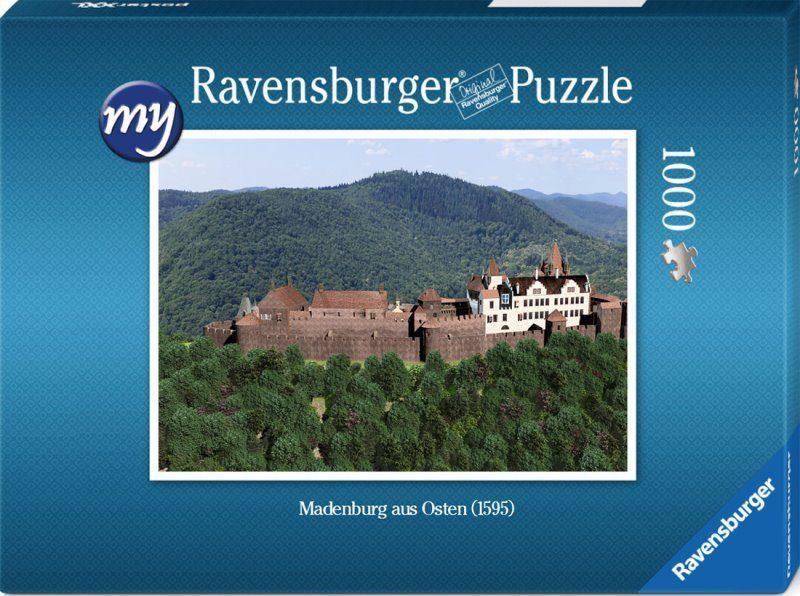 Für den fortgeschrittenen Puzzler: Puzzeln Sie die fotorealistische Rekonstruktion der Madenburg aus Osten betrachet. Sie erhalten ein qualitätsvolles Ravensburger-Puzzle (1000 Teile). Maße des fertigen Puzzles: 69