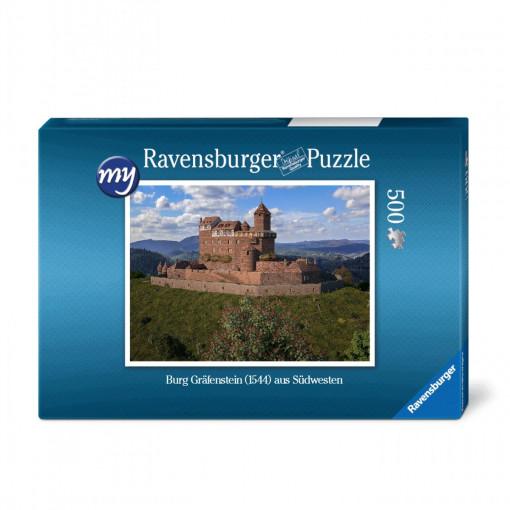 Für den Einsteiger: Puzzeln Sie die fotorealistische Rekonstruktion der Burg Gräfenstein (Südwestpfalz) des Jahres 1544.. En qualitätsvolles Ravensburger-Puzzle mit 500 Teilen. Maß des fertigen Puzzles: 43
