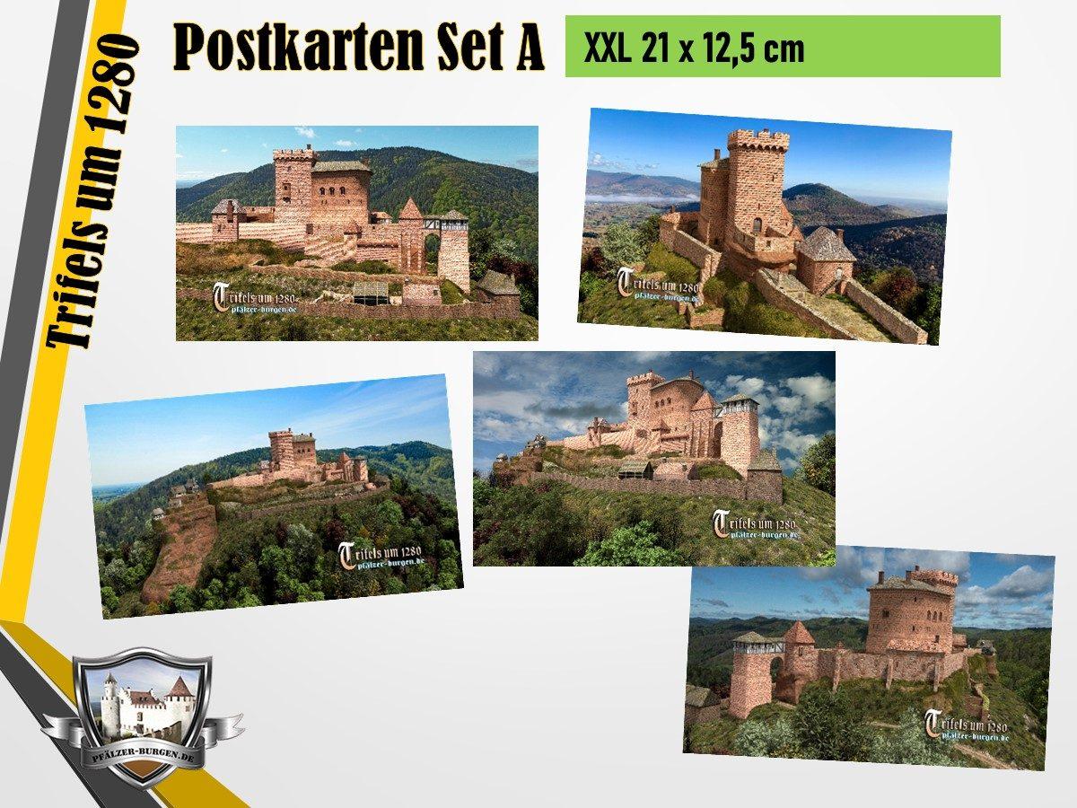 Burg Trifels (1280) - 5er-Postkartenset A