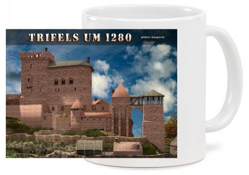 """Spülmaschinenfeste hochwertige Keramiktasse """"Klassik"""" mit Motiv der Burg Trifels des Jahres 1280. Fassungsvermögen 0"""