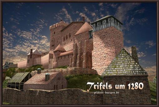 Rekonstruktion der Reichsburg Trifels in ihrer Blütezeit um 1280