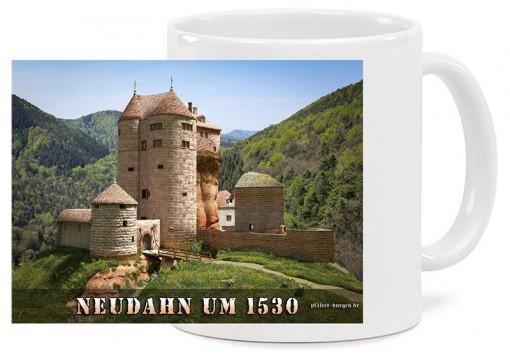 """Spülmaschinenfeste hochwertige Keramiktasse """"Klassik"""" mitMotiv der Burg Neudahn nach ihrem Ausbau zur Kanonenburg um 1535. Fassungsvermögen 0"""