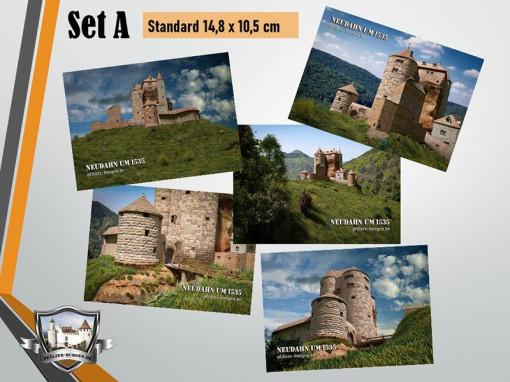 Postkarten-Set A mit 5 unterschiedlichen Motiven der Kanonenburg Neudahn (1535) im Standard-Format (14