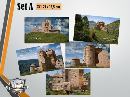 Postkarten-Set A mit 5 unterschiedlichen Motiven der Kanonenburg Neudahn (1535) im XXL-Format (21 x 12