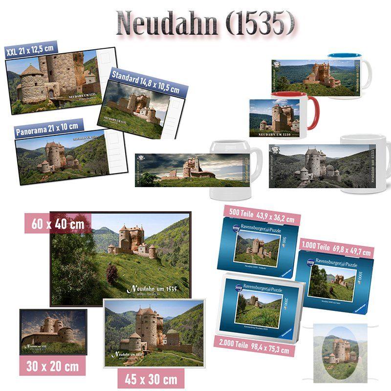 Auswahl von Motiven der rekonstruierten Burg Neudahn (1535) , die jetzt im Burgenshop erhältlich sind.