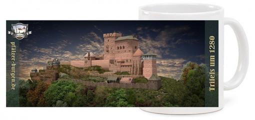 """Spülmaschinenfeste """"Jumbo""""-Fototasse mit Motiv der Reichsburg Trifels um 1280 und einem """"rundum""""-""""Panorama"""""""