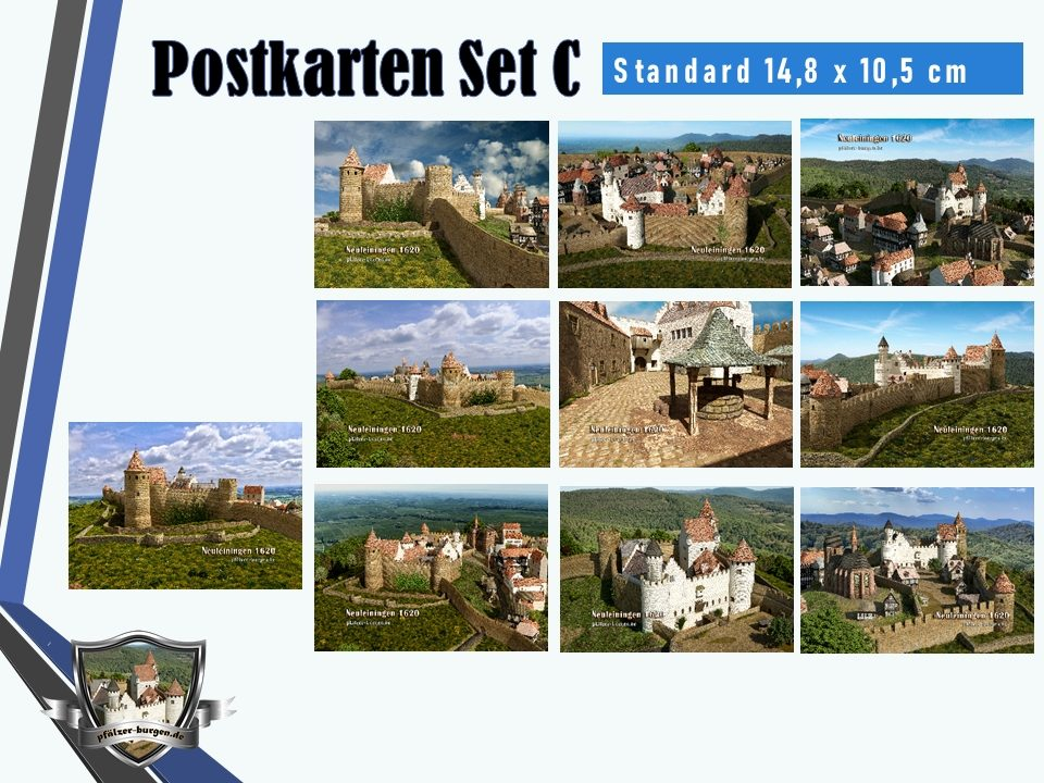 Burg Neuleiningen (1620) - 10er-Postkartenset A+B