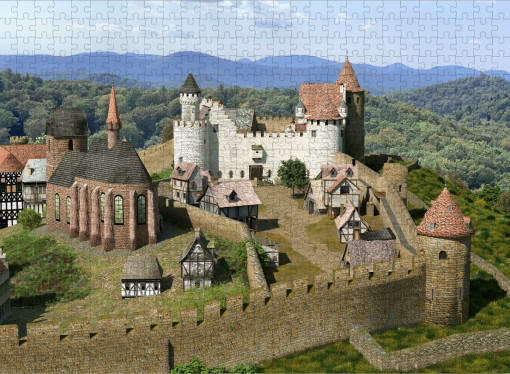 Puzzle 500 Teile - Burg Neuleiningen mit Vorburg (1620)
