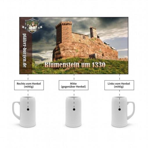 Bierkrug-1L-Burg Blumenstein (1330) Feldseite aus Südwesten