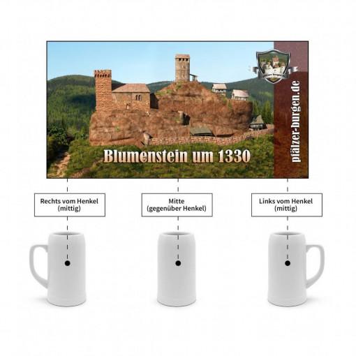 Bierkrug-1L-Burg Blumenstein (1330) Gesamtanlage aus Westen