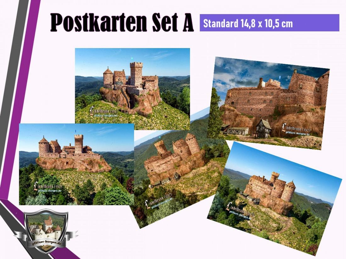 Burg Lindelbrunn (1317) - 5er Postkartenset A