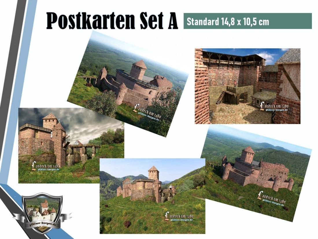 Burg Landeck (1460) - 5er Postkartenset A
