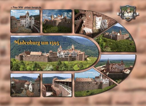 Fotocollage Madenburg (1595) auf Postkarte Standard-Format