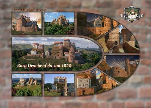 Fotocollage Burg Drachenfels (1520) auf Postkarte Standard-Format