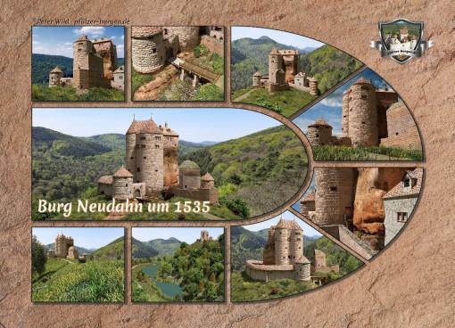 Fotocollage Burg Neudahn (1535) auf Postkarte Standard-Format