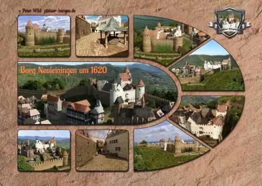 Fotocollage Burg Neuleiningen (1620) auf Postkarte Standard-Format