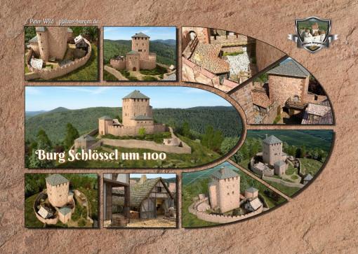 Fotocollage Burg Schlössel (1100) auf Postkarte Standard-Format