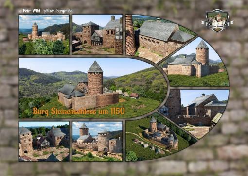 Fotocollage Burg Steinenschloss (1150) auf Postkarte Standard-Format