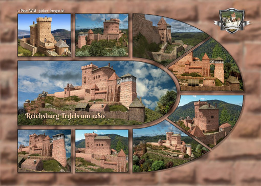 Fotocollage Reichsburg Trifels (1280) auf Postkarte Standard-Format