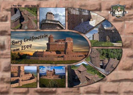 Fotocollage Burg Gräfenstein (1544) auf Postkarte Standard-Format